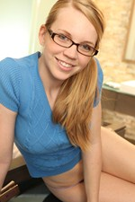 Taylor True Cute Geek Girl Enjoys Getting Naked After Studying. - Picture 1